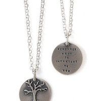 &#x27;REMEMBER WHAT IS IMPORTANT&#x27; NECKLACE | Sterling Silver Tree Charm And Quote By Kathy Bransfield | UncommonGoods