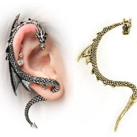 New Gothic Punk Rock Style Dragon&#x27;s Lure Curve Stud Ear Cuff Wrap Earrings USA