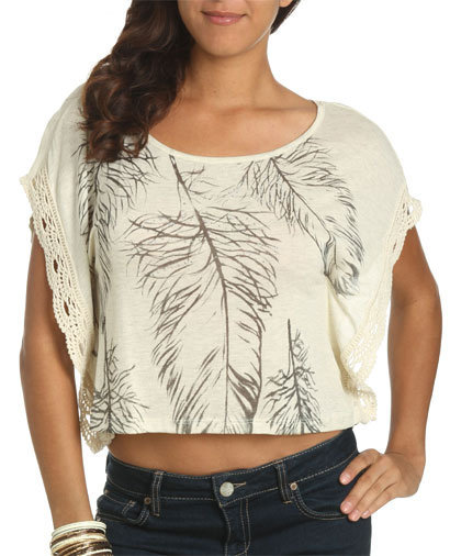 Feather Crochet Crop Top - Teen Clothing by Wet Seal