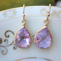 Lavender Earrings Purple Gold Teardrop Pendant - Bridesmaid Earrings Wedding Earrings Bridal Earrings Christmas Gift