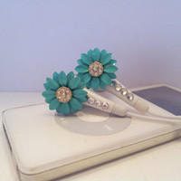 Turqouise and Crystal Flower earbuds