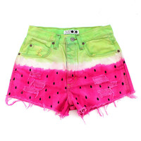 Watermelon Denim Vintage Cut Offs Shorts Re-Worked by Batoko | BATOKO
