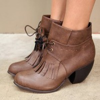vegan leather brown booties with a rounded heel and fringe detail | shopcuffs.com