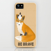 Be Brave - Fox Native iPhone Case by Teacuppiranha | Society6