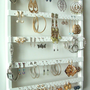 Jewelry Holder 7 Pegs, 90-180 Pair Earring Holder, Boutique Quality &amp; Design, Wall, Maple, Wood, White Semi-Gloss Cabinet Grade Paint