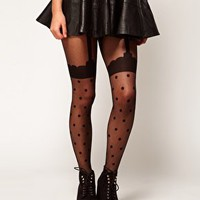 ASOS Spot Suspender Tights at asos.com
