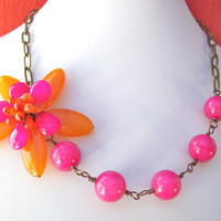 Pink orange flower necklace, asymmetrical gemstone bead wire wrapped flower jewelry with fuchsia orange agate, carnelian, pink quartz