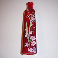 Red bud vase - pink and purple wisteria  - swarovski crystals