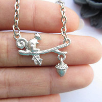 necklace---antique silver cute little squirrel with pine nut pendant & alloy chain