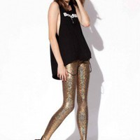 Shattered Glass Gold Leggings - Black Milk