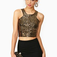 Cutaway Sequin Crop Top