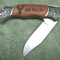 Laser Engraved Rosewood DecoGrip Hunting/Pocket Knife With Deer Head Graphic