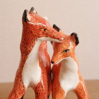 Woodland Wedding Cake Toppers - Foxes by HandyMaiden