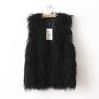 Classic Black or White Long Fur Vest
