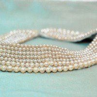 Vintage glass beaded collar // faux pearl by IttyBittyBlossoms77