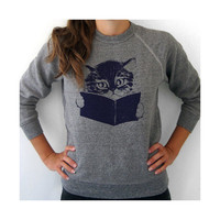 Kitty sweatshirt ecofriendly fleece gray by kinshippress on Etsy