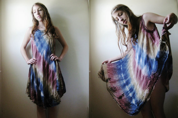 80s Muted Rainbow Ethnic Dress  M by perchtmilk on Etsy