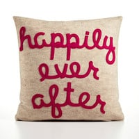 HAPPILY EVER AFTER - oatmeal and fuchsia- 16 inch recycled felt applique pillow