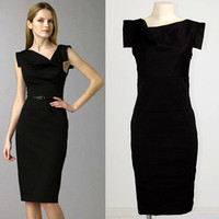 Celeb Classic Cowl Neck Mad Men Tailored Workwear Sheath Evening Pencil Dress M