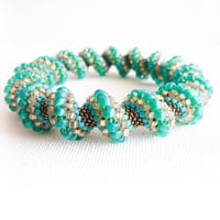 Spring teal green peach turquoise bronze Seed beads woven rope bangle bracelet  Cellini spiral stitch Fashion jewelry Made to order