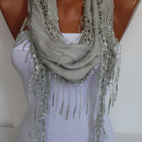 Light Gray Shawl/ Scarf  Headband - Cowl with Trim Edge- Summer Trends