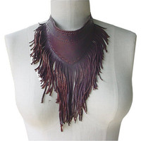 Boho Style Leather Fringe Necklace Scarf with Fringe