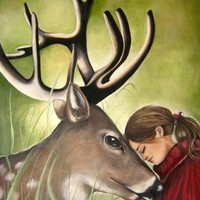 Art Print With Deer And Child on Luulla