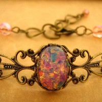 Pink Fire Opal Bracelet Antique Brass by lusciouslockets on Etsy