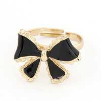 Black Bow Adjustable Cocktail Ring wholesale