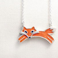 Red fox necklace - sterling silver and concrete - made to order