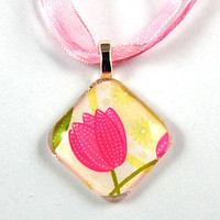 Glass Tile Pendant with Pink Flower on a Pink Organza Necklace