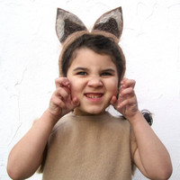 Fox Costume - Halloween Girls Autumn Brown Fox Animal WOOL Dress Hat and Tail in SIZE 3T to 6T - Eco Friendly Kids Clothing