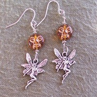 Topaz and Fairy charm earrings