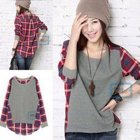 Women New Style Plaid Patchwork Mullet Crewneck Top Blouse