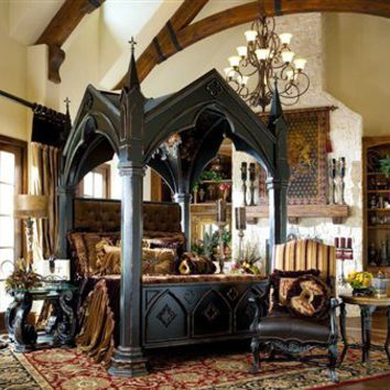 Gothic canopy bed fashion forward, Custom made to order, bedroom set