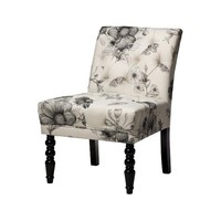Dexter Slipper Accent Chair - Black & White Flora