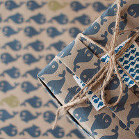 3 Sheets A Whale of a Time (green) - Wrapping Paper