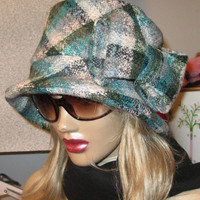 Womens Plaid Cloche Winter Hat Blue Plaid by ruffledflamingo