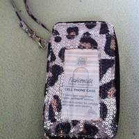 Leopard Sequin Phone Case Mini Wallet Wristlet