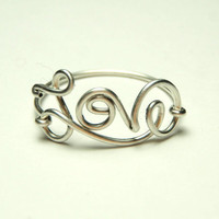 Love ring- Sterling silver wire rings-  cute script love wire ring- by Dereck Mlz- keoops8 shop-