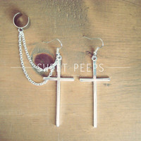 Silver Cross Ear Cuff Set