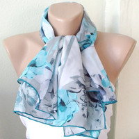 Big blue Roses ..Chiffon... Scarf...Blue, Black and Grey