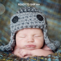AVIATOR Hat Newborn Baby Photo prop in GRAY or any by Newbabyphoto