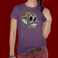 Mustache Sugar Skull Ladies Tee (Color Version) from Zazzle.com