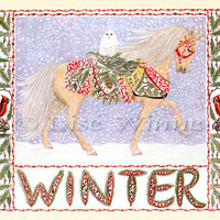 Winter, horse, snow and snowy owl, Christmas or seasonal, 3 greeting cards