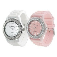 Amazon.com: White/Pink Geneva Water Resistant Women's Rhinestone-accented Silicone Watch (Set of 2): Beauty