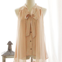 CREME BLUSH Sleeveless Sheer Pink Nude Chiffon by FleetCollection