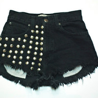 Vintage Highwaisted Denim Black Cutoff Shorts, Studded and destroyed