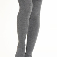 Head Over Heels Thigh High Socks in Gray - $12.00 : ThreadSence.com, Your Spot For Indie Clothing & Indie Urban Culture