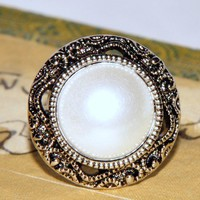 Victorian Themed Pearl Gloss Button Ring